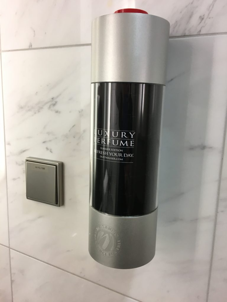 Perfume at the shower room. LH First Class Lounge MUC